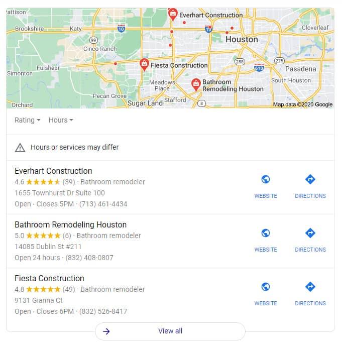 Local SEO Results - Construction Marketing - EWR Digital